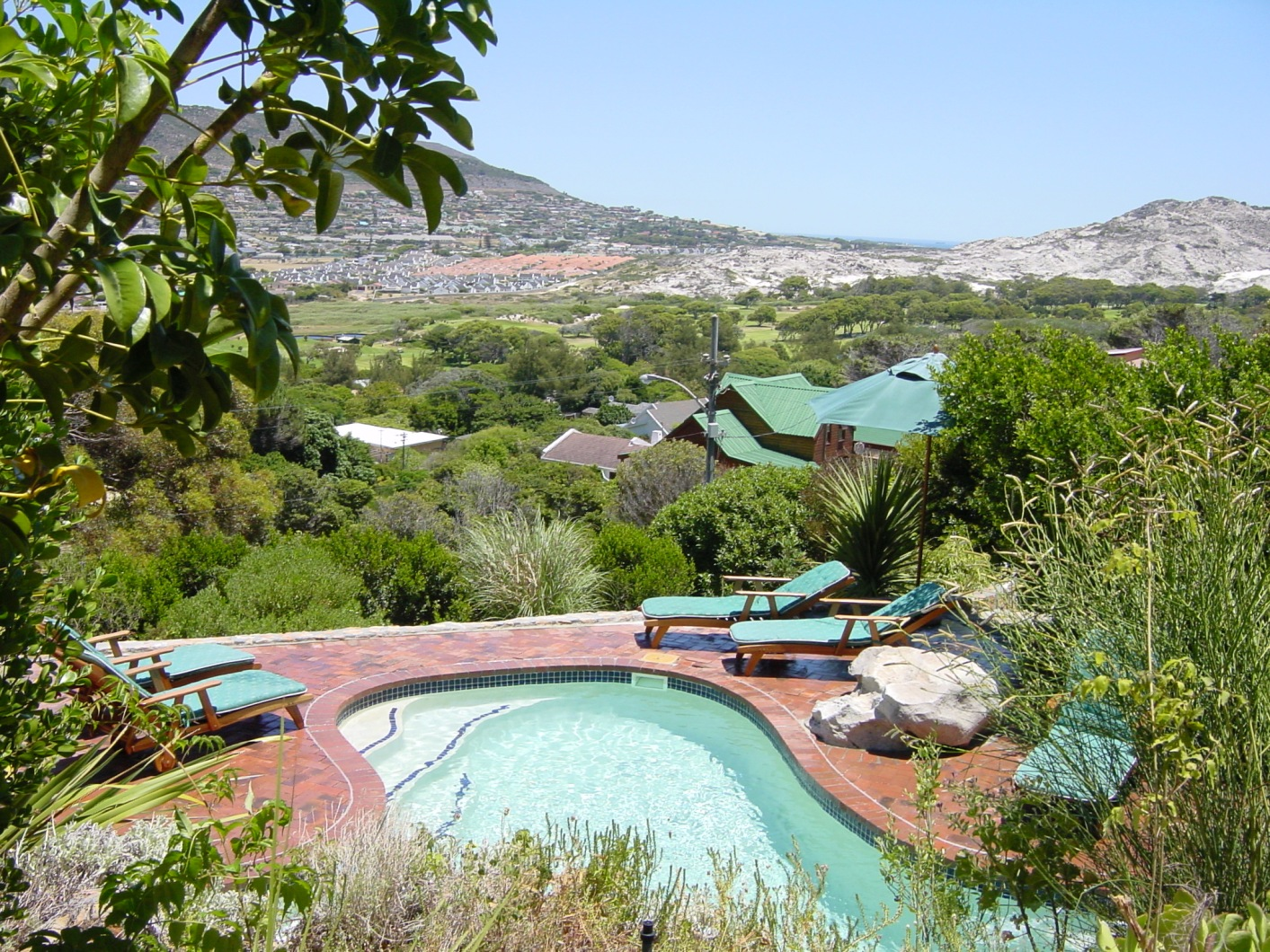 View from jacuzzi across pool