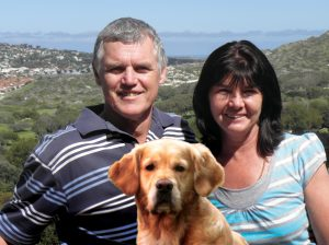 Peter and Sylvia McLeod and Jenna the dog